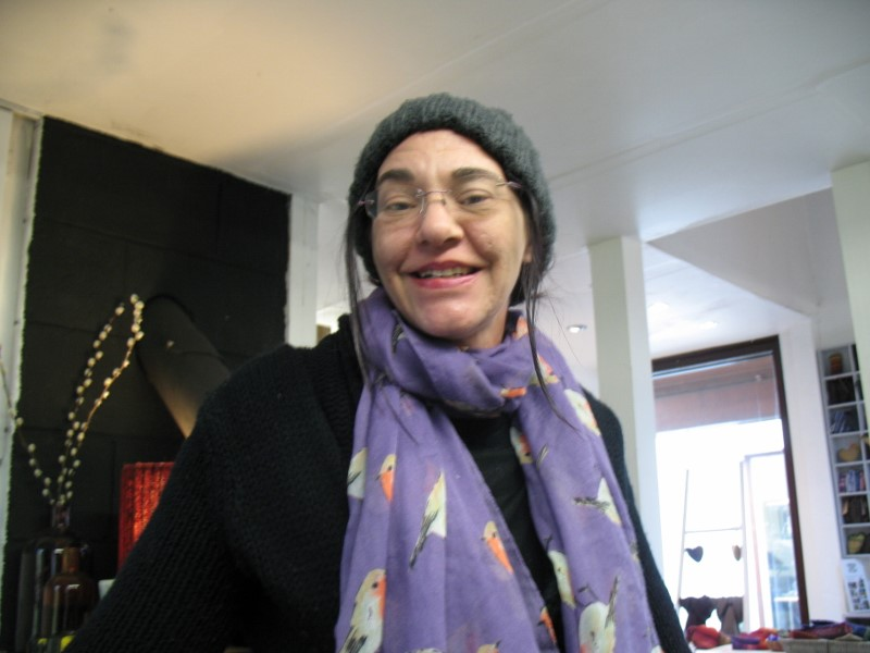 This is a picture of me, Clare, to say Hi and welcome to my hand weaving studio